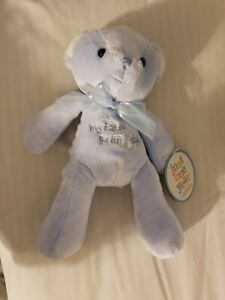 Just One Year Carters Blue MY FIRST BEAR with Airplane Stuffed Plush Bear Rattle