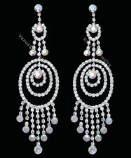 """4.5"""" Bridal Prom Pageant AB Crystal Chandelier Earrings"""