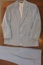 Brooks Brothers Seersucker Men's Suit 44R 38 Pants Hipster Preppy Blue & White
