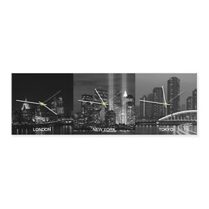Horizontal acrylic wall WORLD CLOCK. Personalised with your 3 custom cities.