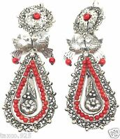 FRIDA KAHLO STYLE TAXCO MEXICAN STERLING SILVER FILIGREE CORAL EARRINGS MEXICO