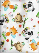 New Baby Animals w Number Blocks and Stars on White Flannel Fabric by the Yard