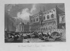 Antigua Impresión Venecia Italia Grand Canal Dogos Palacio c1844 por Prout / Westwood