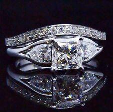 2.45 Ct Princess & Pear Cut Diamond Bridal Ring & Micro Pave Band Set EGL E,SI2