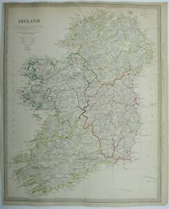 Antique map of Ireland by SUDK 1842