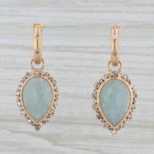 New Nina Nguyen Aquamarine Diamond Teardrop Hoop Earrings 18k Yellow Gold