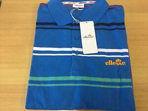Elleesse polo shirt small men's S 36/38 striped whilbert blue tennis bnwt