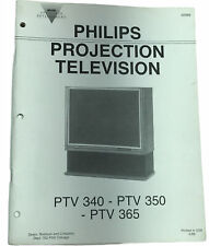 Vintage 80s PHILIPS PROJECTION TELEVISION Owners Manual PTV340, PTV350, PTV365