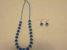 WOMEN'S HANDMADE  LIGHT AND DARK BLUE  NECKLACE AND EARRING SET