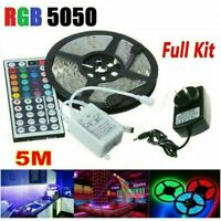 5M RGB 5050 SMD LED Strip Lights Full Kit+44 Key Remote controller+12V AU Power