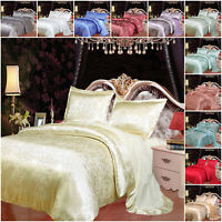 Shiny Satin Silk Duvet Cover With Flat Sheet Double King Size Bedding & Pillows