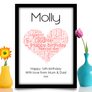 16th 18th 21st 30th 40th 50th 60th personalised birthday gift heart A4 print