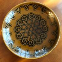 "3x Vintage Retro Black and Brown BILTONS Ironstone Dessert SIDE Tea PLATES 6.5"""