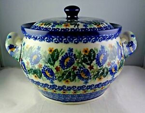 Unikat Polish Pottery Bean Pot Tureen Multicolored Floral - Minty