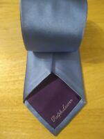 RALPH LAUREN Purple Label Solid Light Blue Smooth Silk Italy Necktie Tie