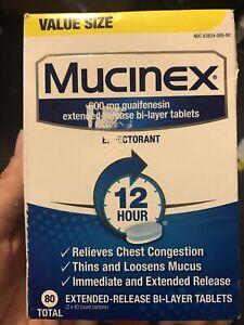 Mucinex 600mg Guaifenesin Expectorant 12 Hour Relief 80 Bi-Layer Tablets