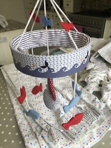 Baby Musical Crib Bed Cot Mobile Toy Mothercare Nautical Boat Whale Theme. Blue