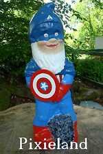 Garden Gnome (CAPTAIN AMERICA) Comission Piece Handmade by Pixieland (Concrete)
