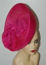 FUSCHIA PINK UPTURNED SAUCER HATINATOR WITH 2 TONE FLOWERS  BY HATS2GO NO RETURN