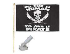 New listing 5' Wooden Flag Pole Kit W/ Nylon White Bracket 3x5 To Err Is Human Poly Flag