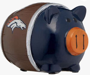 "FOCO NFL Team Piggy Bank Denver Broncos Resin Brown Blue Orange Pig Leaguers 4"""