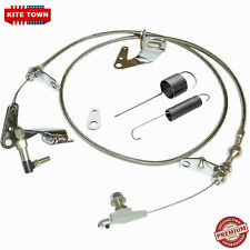 Braided Kickdown Cable Carb Bracket Linkage & Return Springs For Chrysler 904 MP
