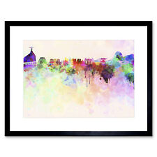 Abstract Cityscape Rio De Janeiro Brazil Paint Splash Framed Wall Art Print
