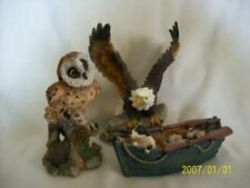 Collectable eagle, owl, & fishing boat