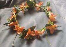 Peach Flower Halo Boho Flower Crown Silk Hair Wreath Beach Bridal Headpiece