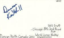 Duncan Keith Chicago Nhl Hockey Autographed Signed Index Card Jsa Coa