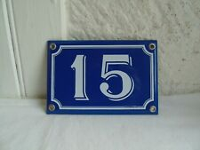 French blue & white house gate number  15  plate porcelain enamel solid
