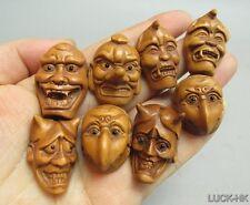 "1940's Japanese Boxwood Wood Netsuke ""8 PIECES Ojime Mask"" Figurine Carving"