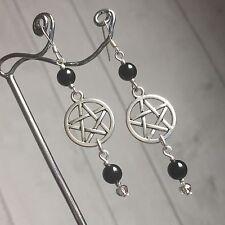 Proteger Negro Onyx Pentagrama pendientes & sólido de plata esterlina 925 Ganchos Wicca