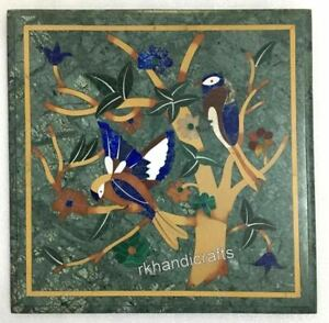 12 Inches Green Marble Side Table Top Birds Pattern Coffee Table Multi Stones