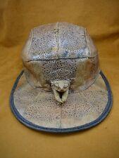(EL1000-80-4) GENUINE Real Bufo Marinus Cane Toad brown Leather BASEBALL CAP hat