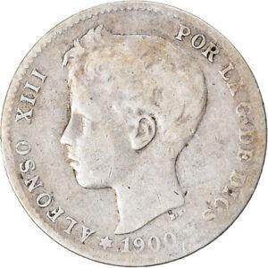 [#7251] Coin, Spain, Alfonso XIII, Peseta, 1900, Valencia, F(12-15), Silver