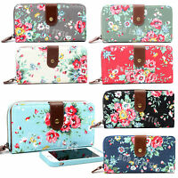 Ladies Women Designer Large Oilcloth Canvas Flower Print Purse Wallet Coin Bag