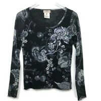 FUZZI by JEAN PAUL GAULTIER  Large Mesh Sequin Top Long Sleeve Black/gray Italy