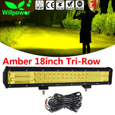 7D 18inch 252W Led Work Light Bar Tri Row Car SUV 4WD Amber Fog Lamp + Harness