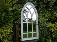 Large Outdoor Mirror Traditional White Gothic Arch Glass Indoor Free Standing