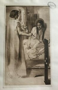 ANTIQUE PRINT 1901 ECCE ANCILLA DOMINI! DANTE GABRIEL ROSSETTI ANGEL GABRIEL ART