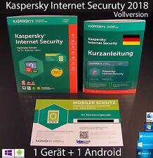 Kaspersky Internet Security 2018 Vollversion Box 1 Gerät PC/Mac+1Android OVP NEU