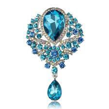 Crystal Teardrop Brooches Large Diamante Rhinestones Wedding Bridal Bouquet Pins