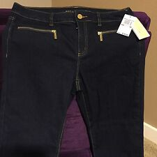 MICHAEL KORS Dark Blue Women's Indigo Gold Logo Zip Pocket Skinny Jeans New 10