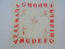 More details for antique victorian handkerchief childrens nursery alphabet printed cotton c1900