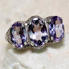 Unique Women Lady 925 Silver Three Amethyst Rings Marriage Bridal Jewelry Size 7