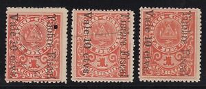 Nicaragua 1903 10c on 1st Class Railroad Coupon Timbre Fiscal Revenue x 3