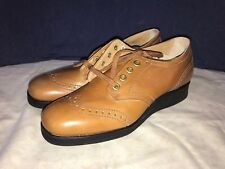 Drew Orthopedic Brown Lace Up Wedge Heels 7 AA Extra Narrow