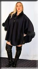 New Navy Cashmere Cape Navy Fox Fur Trim Efurs4less