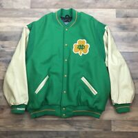 Rare Notre Dame Mitchell Ness 3XL Letterman Jacket Green Wool Leather Worn Once
